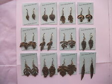 Antique Bronze Leaf Drop Earrings 12 Designs Available  Hand Made
