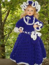 Beautiful Porcelain doll in purple crochet dress