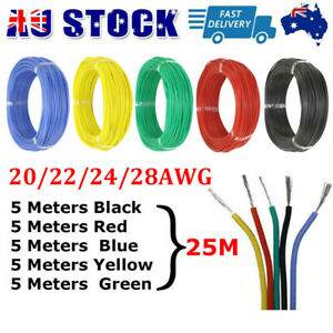 25M Silicone Wire For RC LiPO 20 22 24 28 AWG Cable Tinned Copper Line 5 Colors