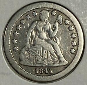 1841 O Fine F Seated Liberty Silver US Dime 10C