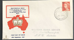 Australia FDC Parade 1967 Provisional Issue 5c Surcharge On 4c Booklet Stamp