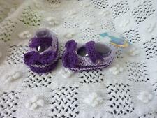Baby Hand Knitted purple bow shoes 0/3 ,newborn.Photo shoot reborn doll ,newborn