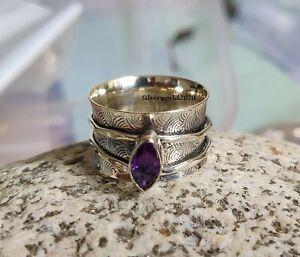 Amethyst Ring 925 Silver Plated Ring Handmade Ring Spinner Ring Size 10 k115