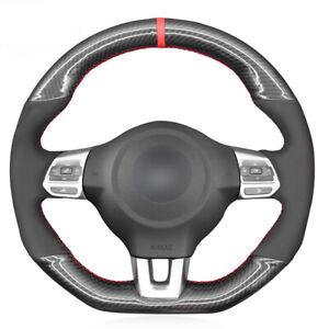 Black Carbon Fiber Suede Car Steering Wheel Cover for Volkswagen Golf 6 GTI MK6