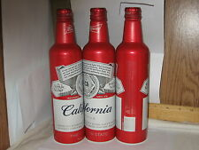 "Budweiser ""California"" 16 oz aluminum bottle beer can with twist top made in L A"