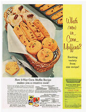 1956 AD QUAKER CORN MEAL AND AUNT JEMIMA CORN MEAL, MUFFIN RECIPES, ACE COMBS