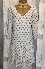 Anthropologie Meadow Rue Tunic Dress Small Blue Floral Cream
