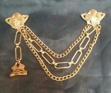 Vintage Gold -tone Triple Vest Pocket Watch Chain Buckle Clips and Fob