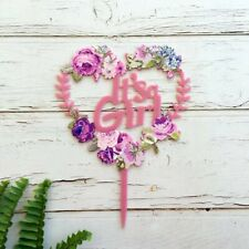 Matte Pink Acrylic 'It's a Girl' Floral Heart Shaped Wreath Cake Topper