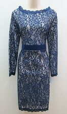 Miusol Blue Ivory Long Sleeve Floral Lace Sheer Wedding Cocktail Dress New XL