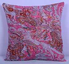 "16"" INDIAN PINK PAISLEY KANTHA CUSHION PILLOW COVER Ethnic Vintage Decor Art"