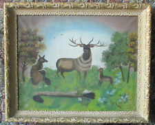 1893 AMERICAN PRIMITIVE OIL PAINTING ON CANVAS - FOREST ANIMALS   .