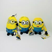 "Despicable Me Minions - Stuart Kevin Bob Stuffed Plush 7"" Toy Lot - New With Tag"