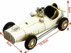 Vintage Hand Painted Mini Racing Car Metal Ornament Decorative Sculpture