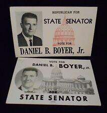 2 Vintage Political Cards - Vote For Daniel B Boyer Jr For PA State Senator 1964