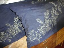 MACY'S CHARTER CLUB BLUE & GREEN EMBROIDERED (2) KING PILLOW SHAMS 20 X 36