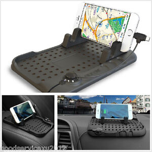 Portable Soft Silicone Car Dashboard USB Mount Charger Holder Bracket Non-slip