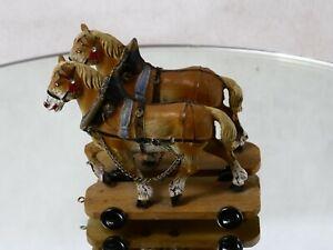 Elastolin D 2 chevaux attelage matière composite 12 cm hauteur totale