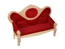 Puppenstube Miniatur - Rotes viktorianisches Salon Sofa Holz natur unlackiert