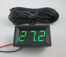 Green LED DC 12V Digital Temperature Thermometer +5m Temp Sensor Probe -50~110C