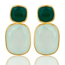 Aqua Chalcedony Dangle Earrings 18k Gold Plated Silver Gemstone Jewelry