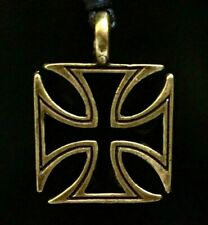 Iron Cross Bronzed Black Enamelled Knights Templar Pendant Biker adjustable cord