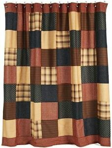 Patriotic Patch Rustic Country Red Plaid Cotton Patchwork Fabric Shower Curtain