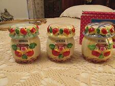 Set of Polish mini-canisters/jars:  Herbata, Kawa, Cukier  (tea, coffee, sugar)