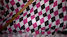 superbe tissu jersey coton style americain rose/noir/blanc 100x140 cm