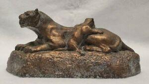 Antique Jaguar And Cub Statue Cast metal
