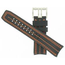 Luminox 26mm Black/Orange Leather Tony Kanaan 1120 Series Watch Band FEL1120