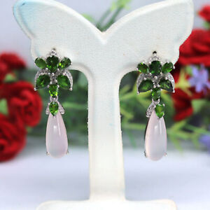NATURAL 7 X 21 mm. PINK CHALCEDONY, CHROME DIOPSIDE & CZ EARRINGS 925 SILVER