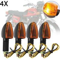 4x LONG&SHORT STEM MOTORCYCLE BULB INDICATORS BLACK WITH AMBER LENS MOTORBIKE UK