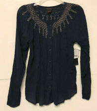 NEW size small It's Pink brand TOP navy blue embroidered S