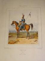 Litho XIX COULEUR COSTUME UNIFORME MILITAIRE ARMEE ENGLAND QUEEN VICTORIA 1840 b