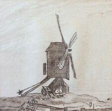 Moulin à vent encre du XVIIIe ou début XIXe
