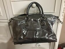 Coach Silver Patent Leather Shoulder Handbag Medium