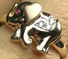 GOLD Elephant Good luck lucky Ring 14k simulated diamond Ruby 4 5 6 7 8 9 9 10