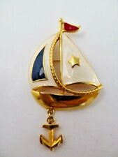 Vintage Estate Signed Avon Gold Enamel Sailboat with Anchor Brooch/Pin- EUC