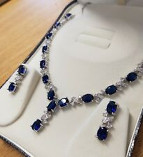 White gold finish oval blue sapphire and created diamond earrings necklace set