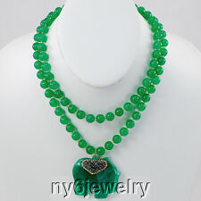 NEW! 2 strands of Green Jade/ Agate Elephant Pendant Necklace Gift Ideas!
