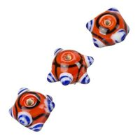 Sputnik Lampwork Red And Blue Round Glass Beads 16mm Pack of 3 (B15/6)