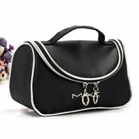Black Fashion Zipper Makeup Bag Large Capacity Make Up Bag Cosmetic Cases j