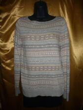 Aztec Tribal Print Brown Gray Pullover Sweater Sweatshirt Women's S/M