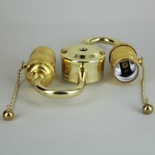 BRASS ~ Double Socket S Shaped Pull Chain Lamp Socket CLUSTER ~ by PLD
