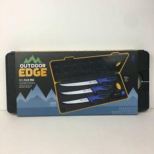 Outdoor Edge Reelflex Pak NIB 3 Fillet Knives w Sharpener Black Hard Case Set