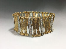 Vintage Fashion Gold Tone w/Rhinestones Stretch Bracelet