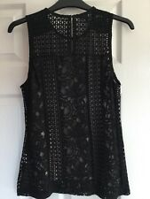 Brand New Warehouse Black Nude Lace Overlay Top