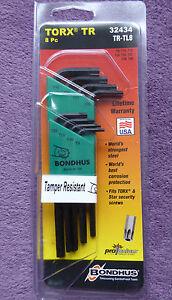Bondhus 32434 Security Torx Tamper proof Star 8 Piece Set T9 - T40 TRTL8