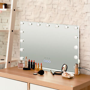 Hollywood Large Makeup Vanity 15 LEDs Lighted Mirror 3 Light Modes USB Bluetooth